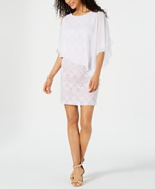 Connected Petite Lace Chiffon Capelet Dress