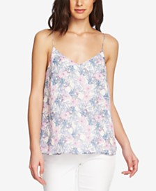 Vince Camuto Floral-Print Laced-Back Top