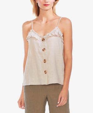 Vince Camuto Tops RUFFLE-TRIM BUTTONED CAMISOLE TOP