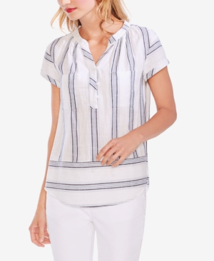 Vince Camuto Tops STRIPED ROLLED-SLEEVE HENLEY TOP
