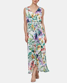 SL Fashions Sleeveless Floral Printed Wrap Dress