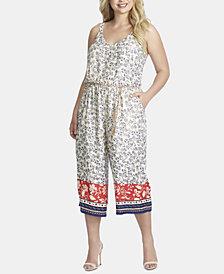 Jessica Simpson Trendy Plus Size Tummy-Control Belted Jumpsuit