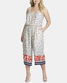 Jessica Simpson Trendy Plus Size Tummy-Control Belted Jumpsuit