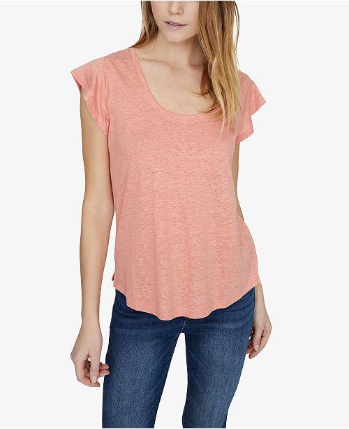 Sanctuary Ruby Solid Scoop-Neck Linen T-Shirt