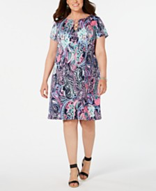 MSK Plus Size Embellished Printed Shift Dress
