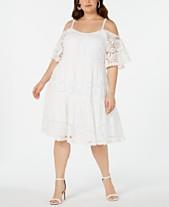 714559b7a0f7b Robbie Bee Plus Size Cold-Shoulder Lace Dress