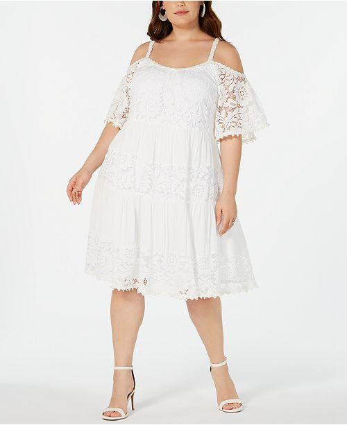 Robbie Bee Plus Size Cold-Shoulder Lace Dress