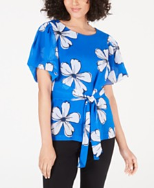 Alfani Printed Tie-Waist Top, Created for Macy's