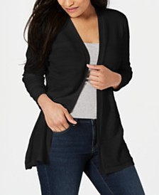 Karen Scott Petite Horizontal-Pointelle Cardigan, Created for Macy's