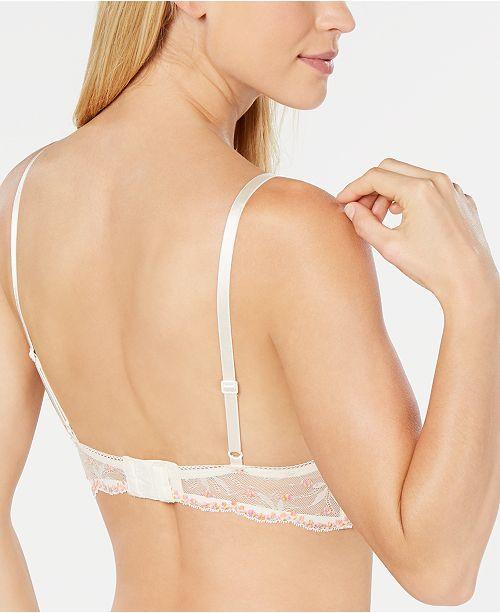3536cde7732 Calvin Klein Women s Pom Pom Lace Unlined Triangle Bralette QF5186 ...