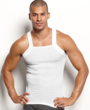 Two-Pack Ribbed Cotton Tank Top in White