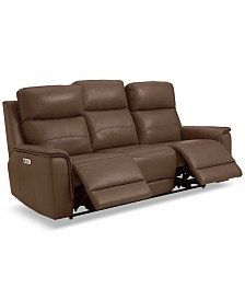 """Goodwick 83.5"""" Leather Dual Power Motion Sofa, Created for Macy's"""