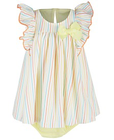 First Impressions Baby Girls Striped Skirted Cotton Romper, Created for Macy's