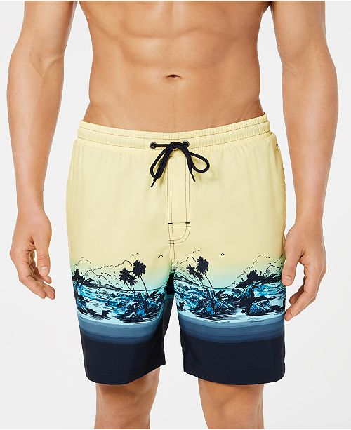 "Club Room Men's Tropical Quick-Dry 7"" Swim Trunks, Created for Macy's"