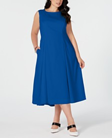 Alfani Plus Size Sleeveless A-Line Midi Dress, Created for Macy's