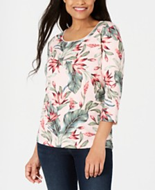 Karen Scott Petite Palm Revival Top, Created for Macy's