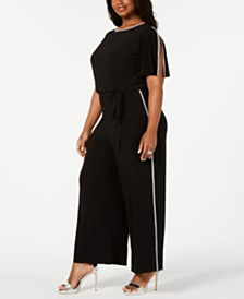 MSK Plus Size Rhinestone-Trim Belted Jumpsuit