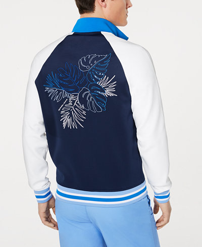 Michael Kors Men's Colorblocked Palm Logo Embroidered Track Jacket, Created for Macy's