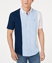 f43f535f Tommy Hilfiger Men's Big & Tall Tobias Custom-Fit Pieced Colorblocked Shirt