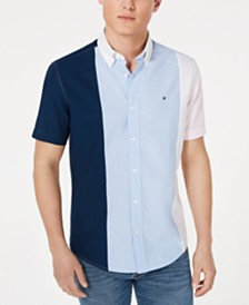 Tommy Hilfiger Men's Big & Tall Tobias Custom-Fit Pieced Colorblocked Shirt