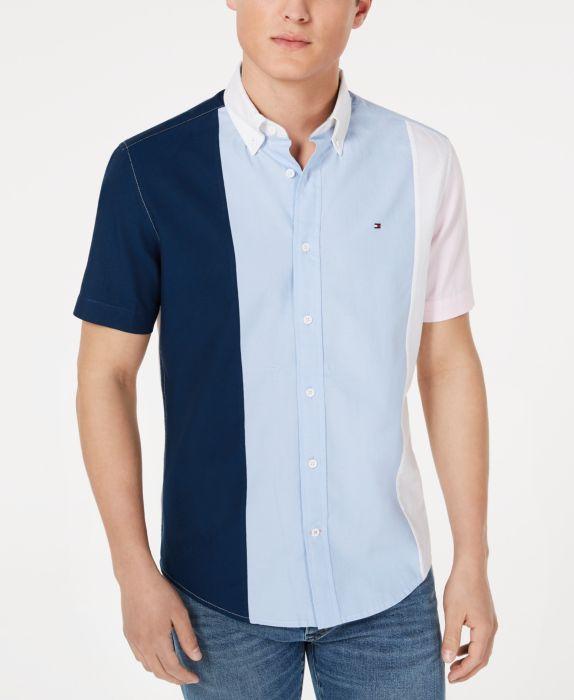 Tommy Hilfiger Mens Tobias Custom-Fit Pieced Colorblocked Shirt  , Multi, Size: L