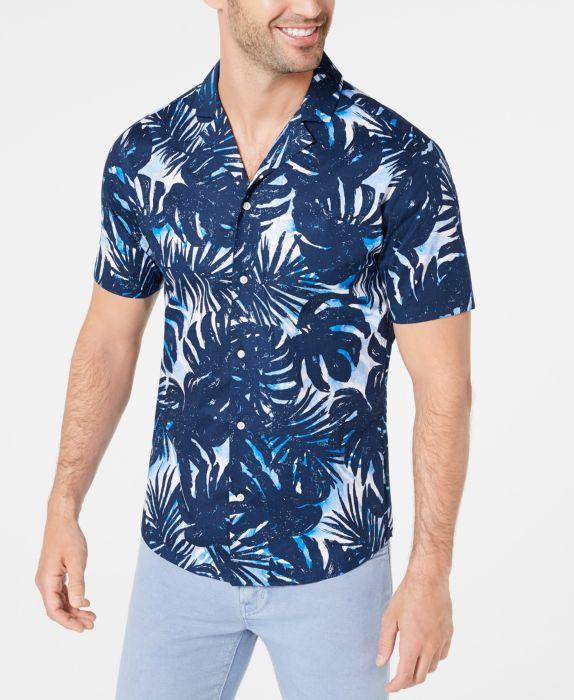 Mens Shirt Medium Button Down Slim-Fit Printed M