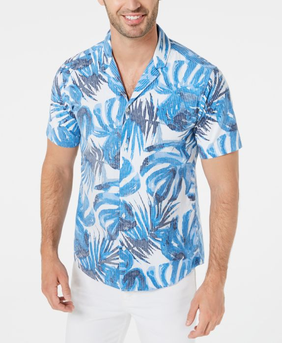 Mens Shirts Button-Front Slim-Fit Leaf-Print 2XL