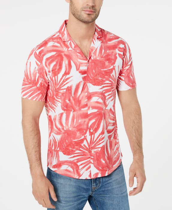 Mens Shirt Medium Button Front Leaf Print M
