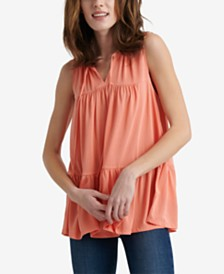 Lucky Brand Sandwash Ruffle Sleeveless Top