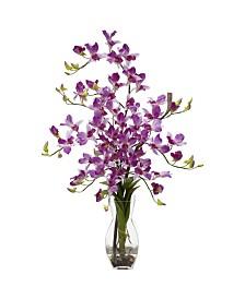 Nearly Natural Dendrobium w/Vase Silk Flower Arrangement