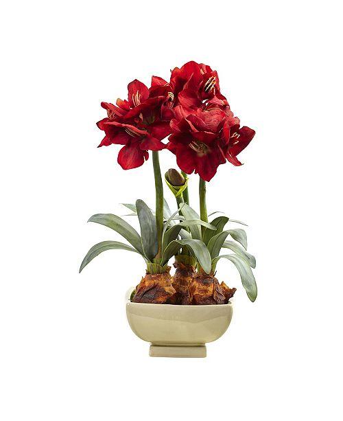 Nearly Natural Amaryllis Arrangement w/Vase