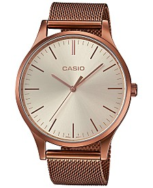 Casio Women's Copper-Tone Stainless Steel Mesh Watch 38mm