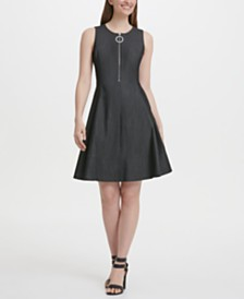DKNY Denim Fit & Flare Front Zip Dress