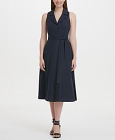 DKNY A-line Linen Midi Shirt Dress