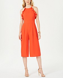 Chiffon Ruffled Halter-Neck Jumpsuit