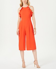 Vince Camuto Chiffon Ruffled Halter-Neck Jumpsuit
