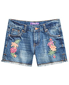 GUESS Big Girls Floral-Embellished Denim Shorts