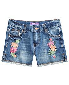 GUESS Big Girls Floral-Embellished Denim Shorts