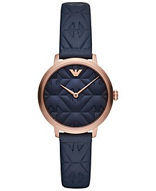 Women's Blue Leather Strap Watch 32mm