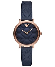 Emporio Armani Women's Blue Leather Strap Watch 32mm