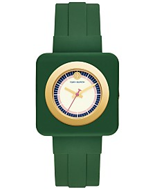 Tory Burch Women's Izzie Green Rubber Strap Watch 36mm