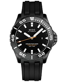 Mido Men's Swiss Automatic Chronometer Ocean Star Diver 600 Black Rubber Strap Watch 43.5mm