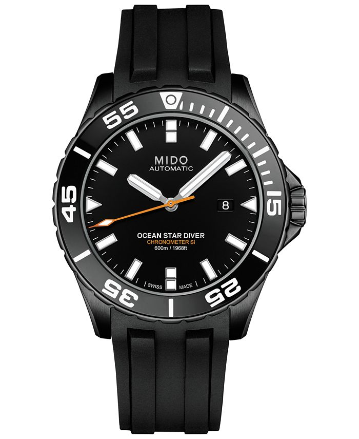 Mido - Men's Swiss Automatic Chronometer Ocean Star Diver 600 Black Rubber Strap Watch 43.5mm