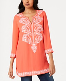 Charter Club Embroidered Split-Neck Tunic, Created for Macy's