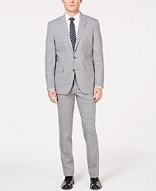 Men's Slim-Fit Travel Ready Performance Light Gray Windowpane Suit