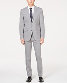 Kenneth Cole New York Men's Slim-Fit Travel Ready Performance Light Gray Windowpane Suit