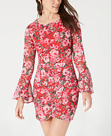 B Darlin Juniors' Open-Back Floral-Print Dress, Created for Macy's