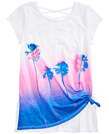 Epic Threads Big Girls Palm Trees Tie-Front Top, Created for Macy's