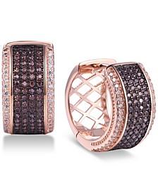 Cubic Zirconia Mocha Small Hoop Earrings  s in 14k Rose Gold-Plated Sterling Silver
