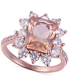 Simulated Morganite & Cubic Zirconia Statement Ring in 14k Rose Gold-Plated Sterling Silver